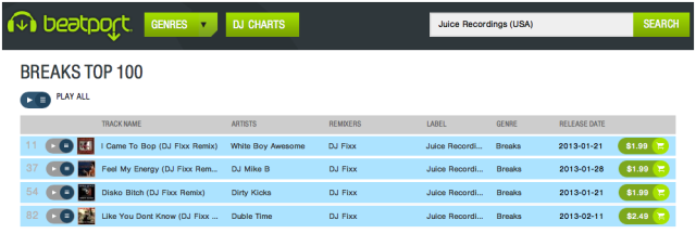 2013-02-13, Juice Recordings, Beatport Breaks 100